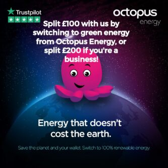 Split £100 with us by switching to green energy from Octopus Energy, or split £200 if you're a business!