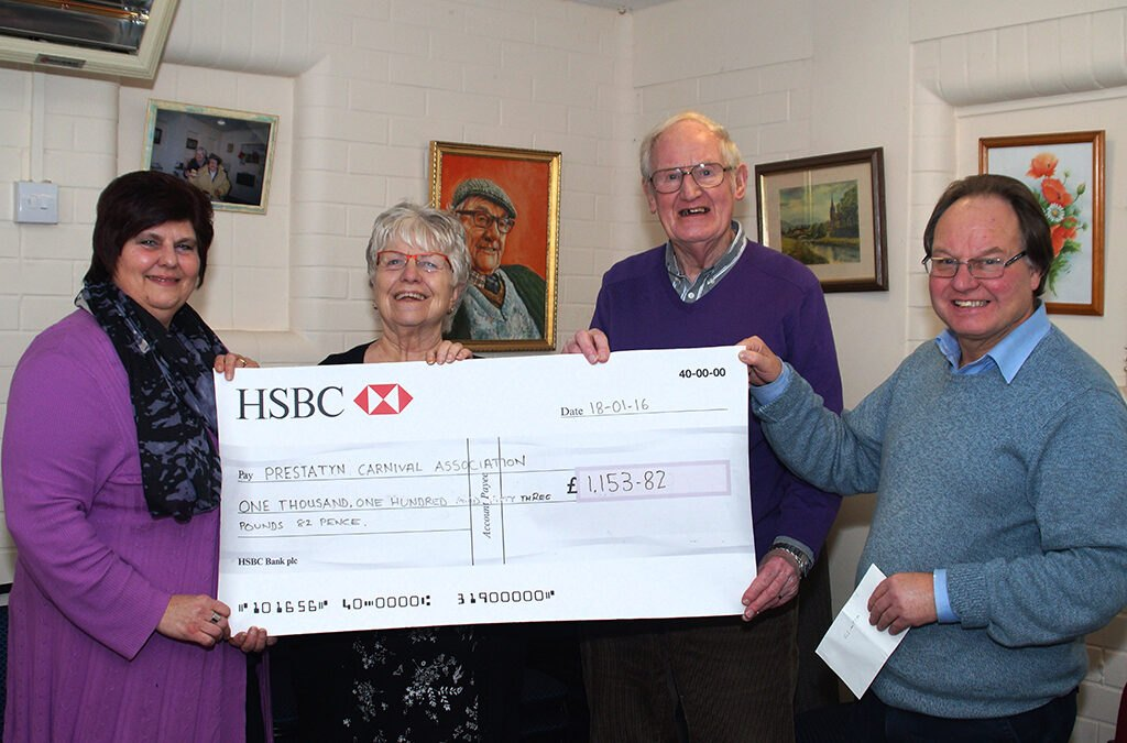 Friends Of The Scala presenting funds to Prestatyn Carnival Committee 18.01.16 (Photo: David Francis)