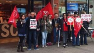 Scala supporters held a protest in December before the council cutbacks (Credit: BBC News)