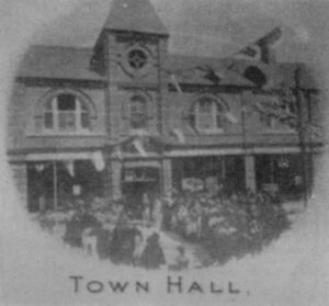 A photograph showing the opening of Prestatyn Town Hall, July 26th 1900.